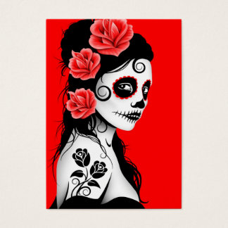 Red Day of the Dead Sugar Skull Girl Business Card