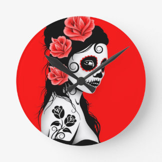 Red Day of the Dead Sugar Skull Girl Round Wallclock