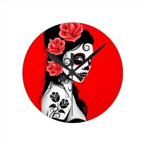 Red Day of the Dead Sugar Skull Girl Wall Clocks