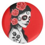 Red Day of the Dead Sugar Skull Girl Dinner Plates