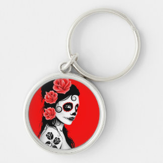 Red Day of the Dead Sugar Skull Girl Key Chains