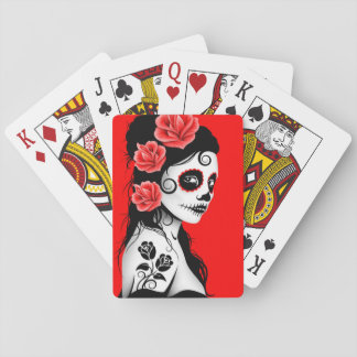 Red Day of the Dead Sugar Skull Girl Playing Cards