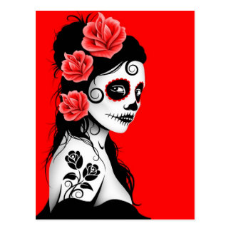 Red Day of the Dead Sugar Skull Girl Postcard