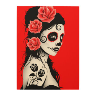 Red Day of the Dead Sugar Skull Girl Wood Wall Art