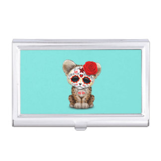 Red Day of the Dead Sugar Skull Leopard Cub Business Card Case