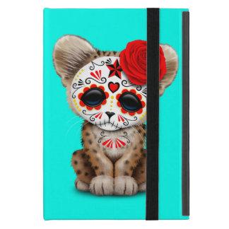 Red Day of the Dead Sugar Skull Leopard Cub Case For iPad Mini