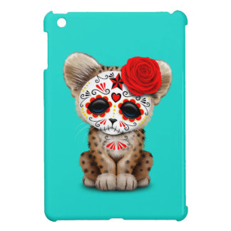 Red Day of the Dead Sugar Skull Leopard Cub Case For The iPad Mini