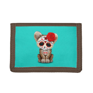Red Day of the Dead Sugar Skull Leopard Cub Trifold Wallet