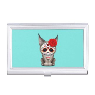 Red Day of the Dead Sugar Skull Lynx Cub Business Card Case