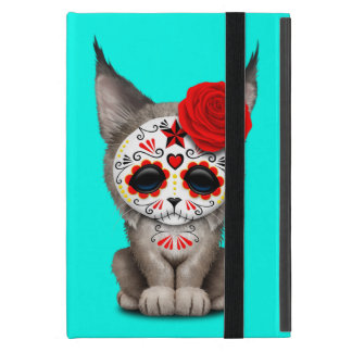 Red Day of the Dead Sugar Skull Lynx Cub Case For iPad Mini