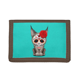 Red Day of the Dead Sugar Skull Lynx Cub Trifold Wallet