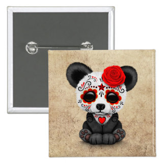 Red Day of the Dead Sugar Skull Panda Aged 2 Inch Square Button