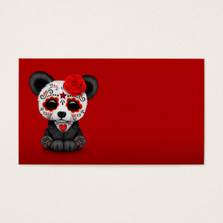 Red Day of the Dead Sugar Skull Panda Business Card