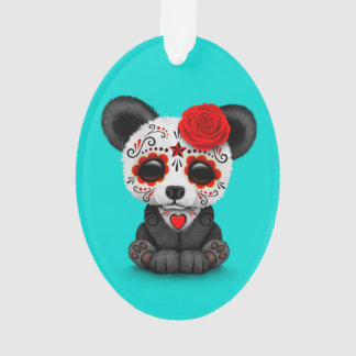 Red Day of the Dead Sugar Skull Panda on Blue Ornament