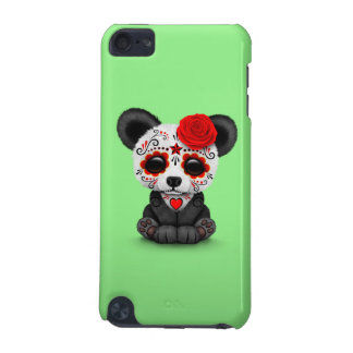 Red Day of the Dead Sugar Skull Panda on Green iPod Touch (5th Generation) Cover