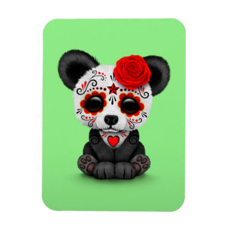 Red Day of the Dead Sugar Skull Panda on Green Magnet