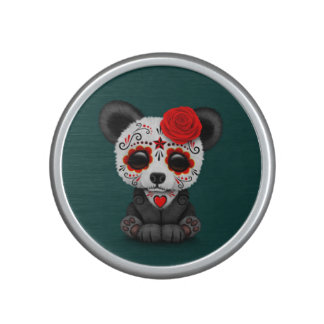 Red Day of the Dead Sugar Skull Panda on Teal Bluetooth Speaker