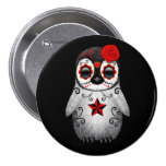 Red Day of the Dead Sugar Skull Penguin Black 3 Inch Round Button