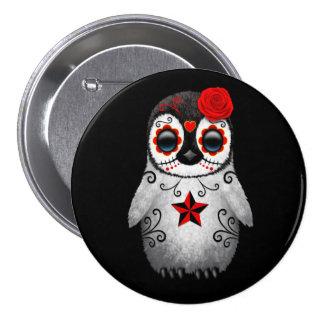 Red Day of the Dead Sugar Skull Penguin Black Button