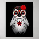Red Day of the Dead Sugar Skull Penguin Black Poster