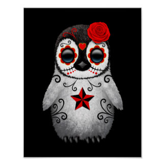 Red Day of the Dead Sugar Skull Penguin Black Poster