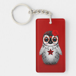 Red Day of the Dead Sugar Skull Penguin Keychain