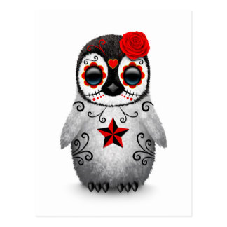 Red Day of the Dead Sugar Skull Penguin White Postcard