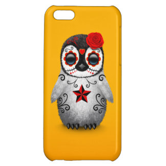 Red Day of the Dead Sugar Skull Penguin Yellow Case For iPhone 5C