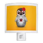 Red Day of the Dead Sugar Skull Penguin Yellow Nite Light