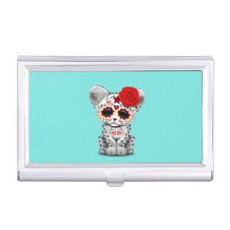 Red Day of the Dead Sugar Skull Snow Leopard Cub Business Card Case