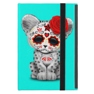 Red Day of the Dead Sugar Skull Snow Leopard Cub Case For iPad Mini