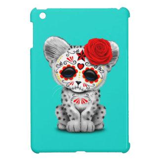 Red Day of the Dead Sugar Skull Snow Leopard Cub Case For The iPad Mini