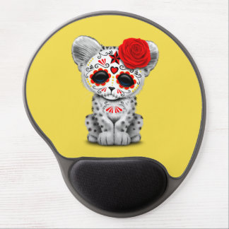 Red Day of the Dead Sugar Skull Snow Leopard Cub Gel Mouse Pad
