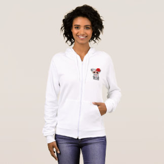 Red Day of the Dead Sugar Skull Snow Leopard Cub Hoodie