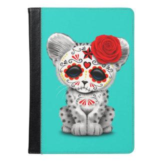 Red Day of the Dead Sugar Skull Snow Leopard Cub iPad Air Case