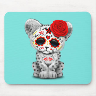Red Day of the Dead Sugar Skull Snow Leopard Cub Mouse Pad