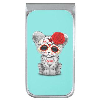 Red Day of the Dead Sugar Skull Snow Leopard Cub Silver Finish Money Clip
