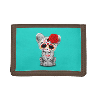 Red Day of the Dead Sugar Skull Snow Leopard Cub Trifold Wallet