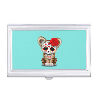 Red Day of the Dead Sugar Skull Tiger Cub Business Card Case