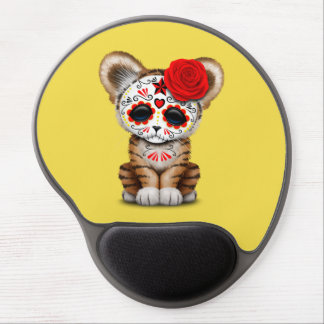 Red Day of the Dead Sugar Skull Tiger Cub Gel Mouse Pad