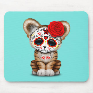 Red Day of the Dead Sugar Skull Tiger Cub Mouse Pad