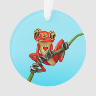 Red Day of the Dead Sugar Skull Tree Frog Ornament