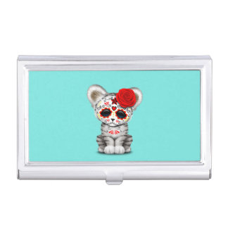 Red Day of the Dead Sugar Skull White Tiger Cub Business Card Case