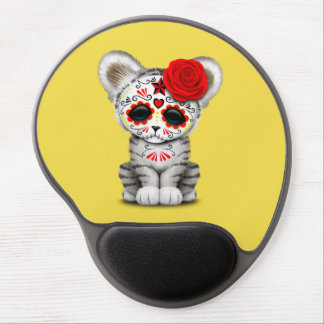 Red Day of the Dead Sugar Skull White Tiger Cub Gel Mouse Pad