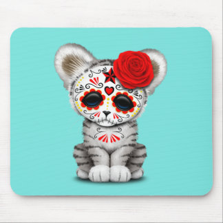 Red Day of the Dead Sugar Skull White Tiger Cub Mouse Pad