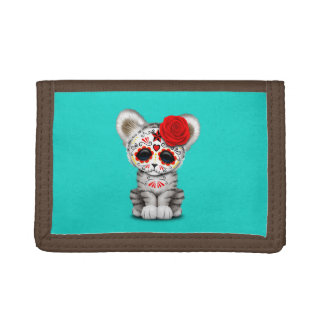 Red Day of the Dead Sugar Skull White Tiger Cub Trifold Wallet