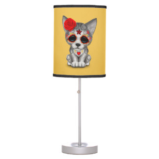 Red Day of the Dead Sugar Skull Wolf Cub Table Lamp