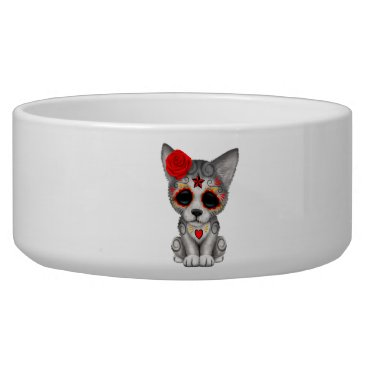 Halloween Themed Red Day of the Dead Wolf Cub Bowl