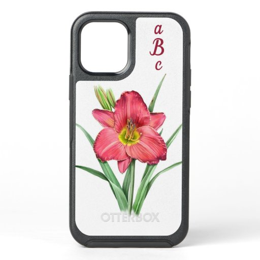 Red Daylily Flower Botanical Art  Personalized OtterBox Symmetry iPhone 12 Case