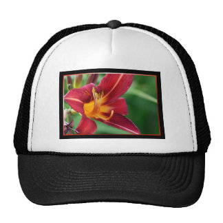 Red Daylily Flower Trucker Hat